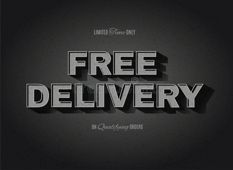 Vintage movie Free Delivery sign. Vintage movie or retro cinema text effect vector Free Delivery sign vector illustration