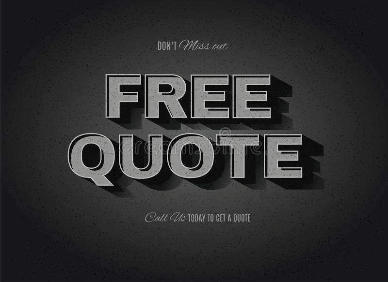 Vintage movie Free Quote sign stock illustration
