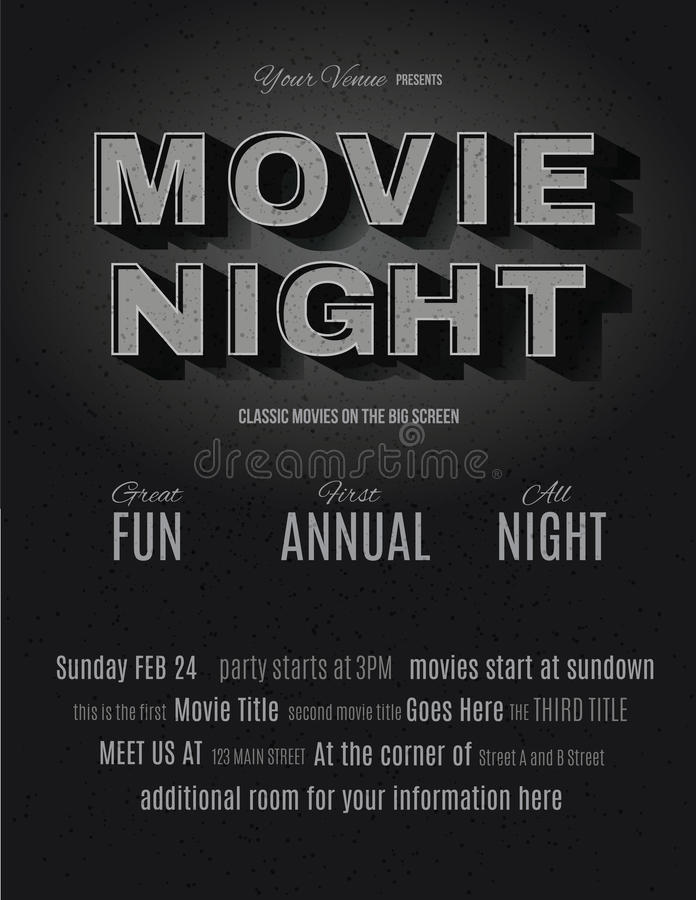 Vintage Movie Night Invitation Template Stock Vector - Illustration ...