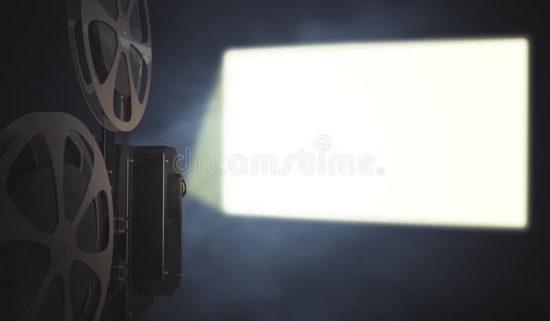 Vintage movie projector is projecting blank screen on wall. 3D rendered illustration.  vector illustration