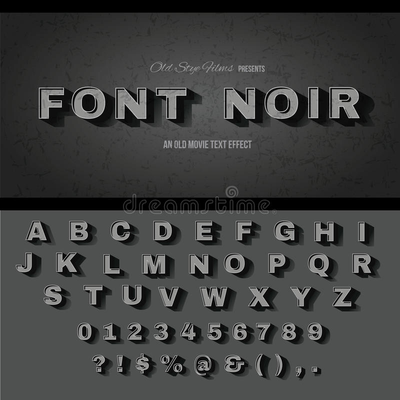 Vintage movie text effect alphabet. Vintage movie or retro cinema text effect royalty free illustration