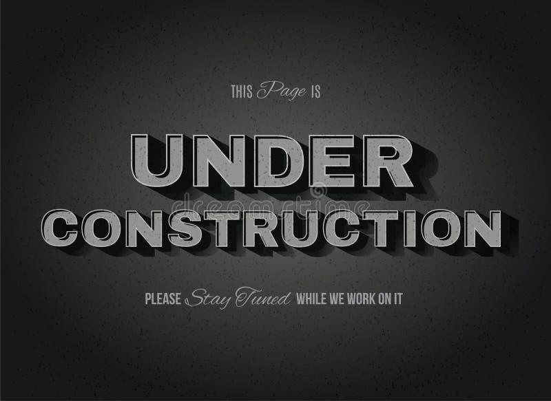Vintage Movie Under Construction Sign. Vintage movie or retro cinema text effect vector under construction sign vector illustration