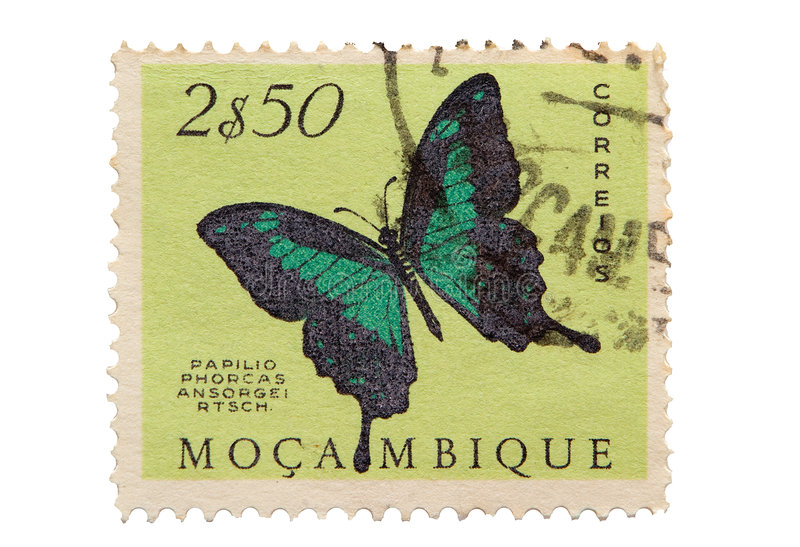 Vintage Mozambique Postage Stamp stock photos