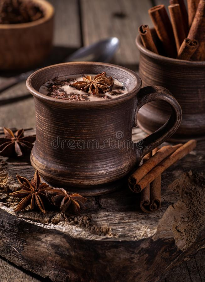 Vintage Mug of Hot Chocolate royalty free stock photos