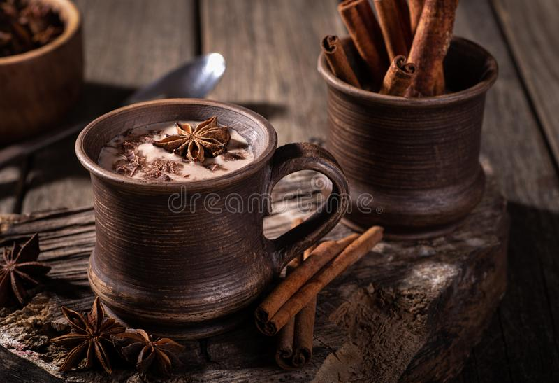 Vintage Mug of Hot Chocolate stock photo