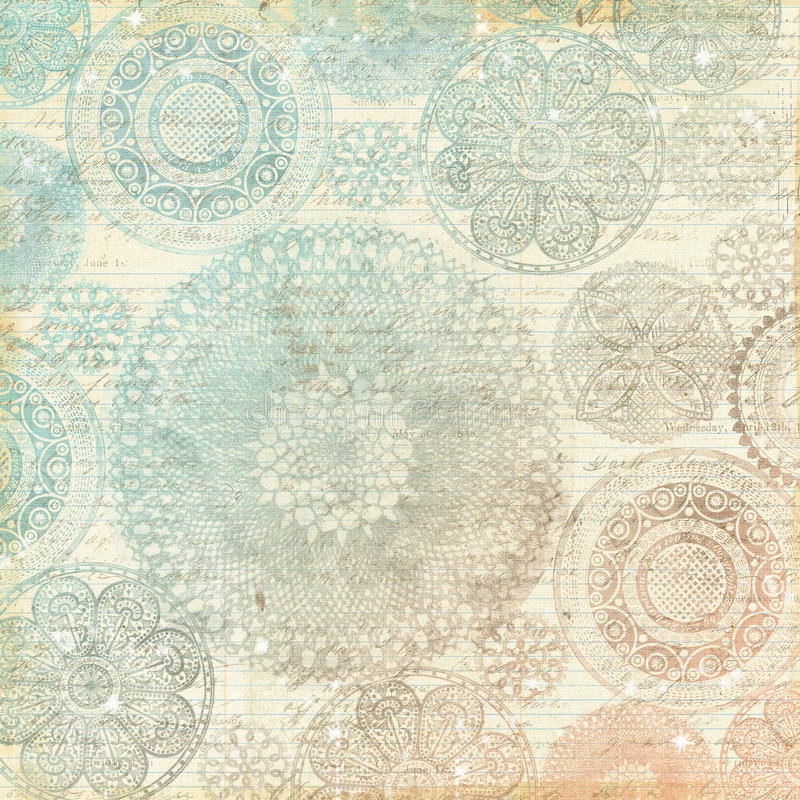 Vintage Multicolor Pastel Lace Doily Background stock illustration