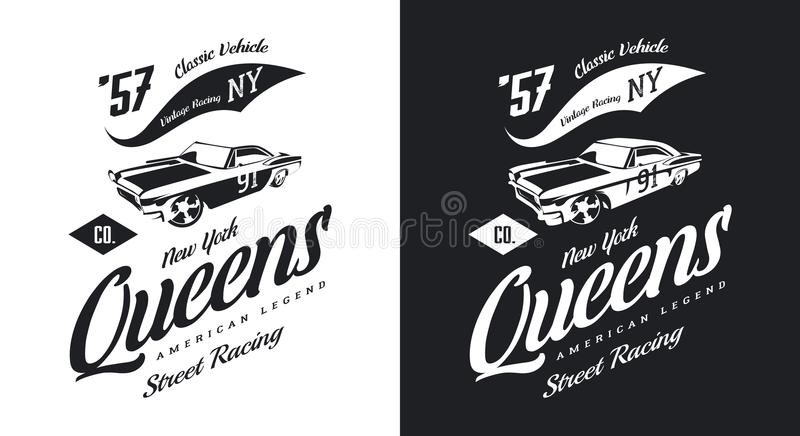 Vintage muscle car black and white isolated vector logo. Premium quality old sport vehicle logotype t-shirt emblem illustration. Queens, New York street wear vector illustration