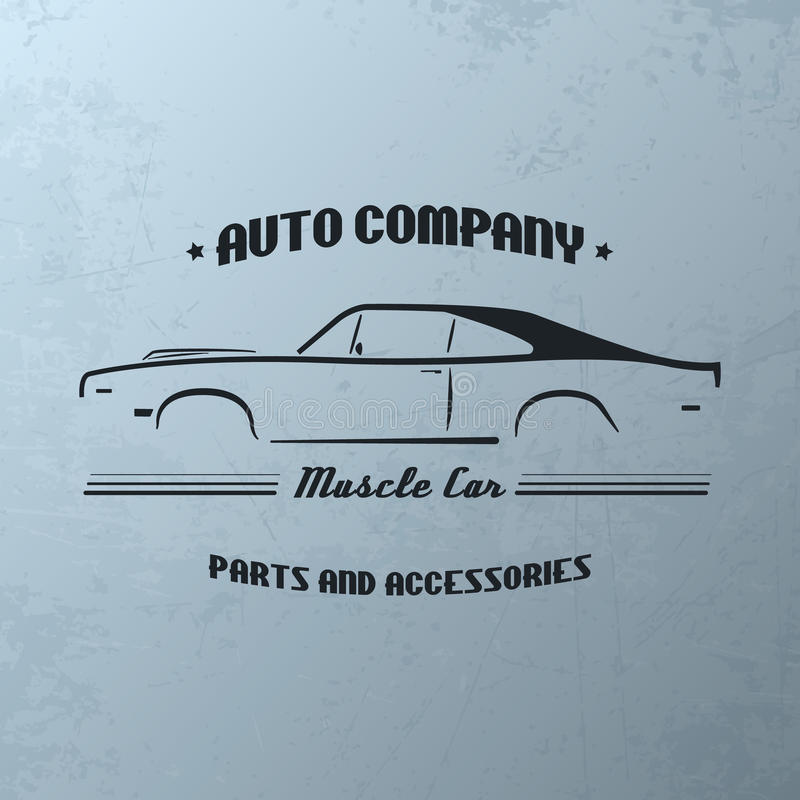 Vintage muscle car company logo design. royalty free illustration