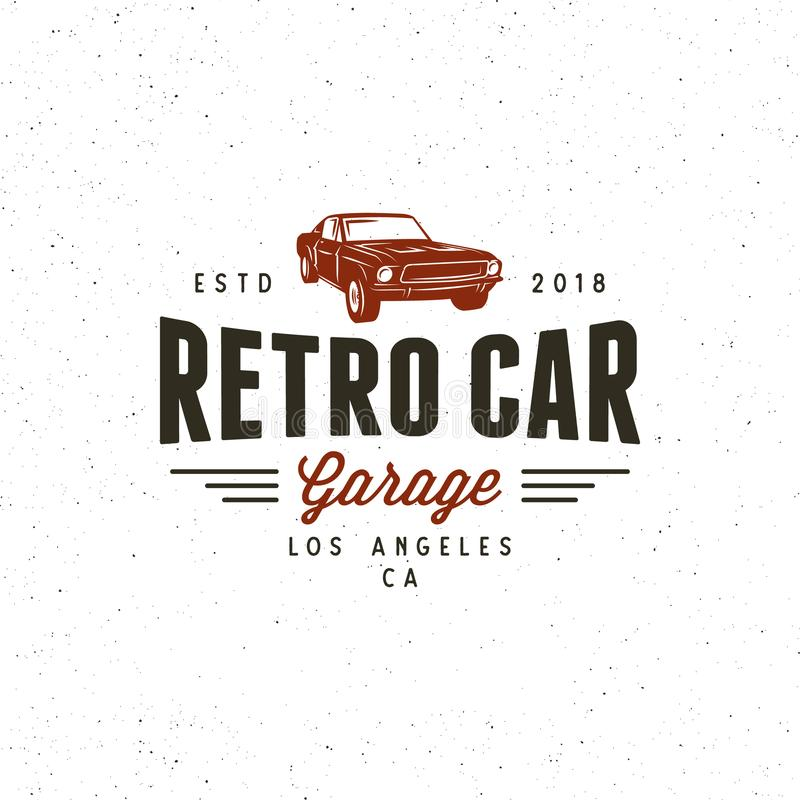 Vintage muscle car garage logo. vector illustration stock illustration