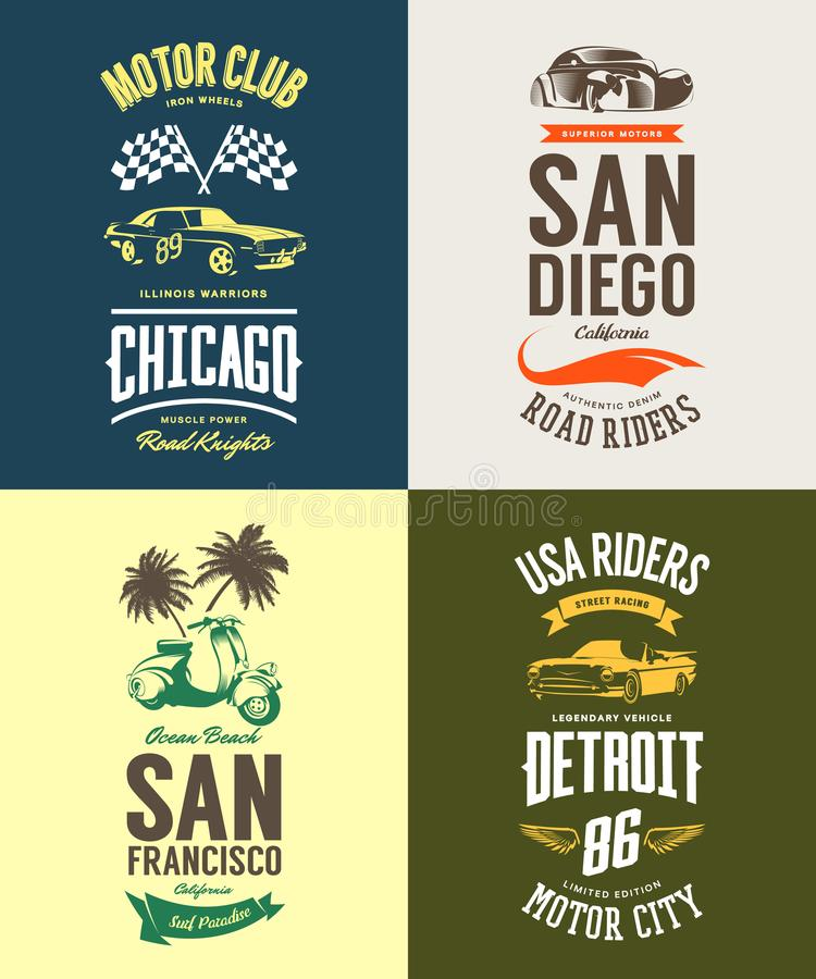 Vintage muscle car, moped, cabriolet and classic vehicle vector t-shirt logo isolated set. royalty free illustration