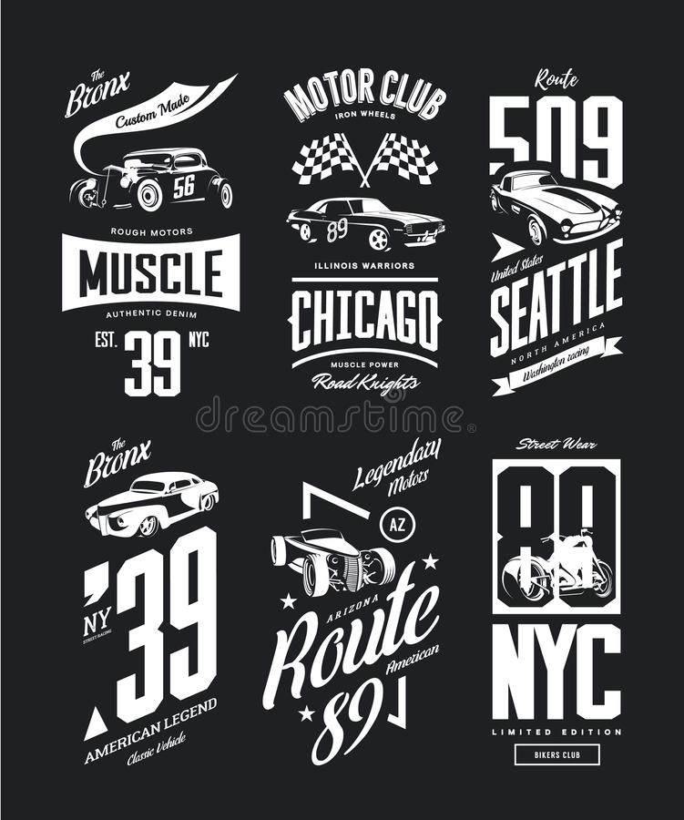 Vintage muscle car, roadster vector t-shirt logo isolated set. Premium quality motorcycle bikers club logotype tee-shirt emblem illustration. Bronx hot rod royalty free illustration