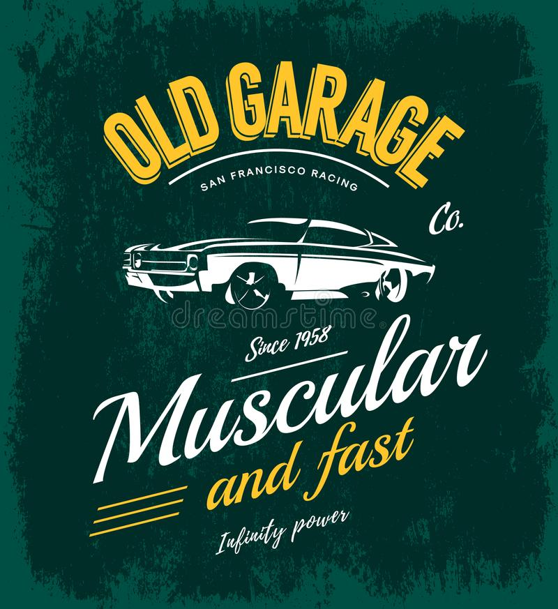 Vintage muscle car vector logo concept isolated on green vector illustration