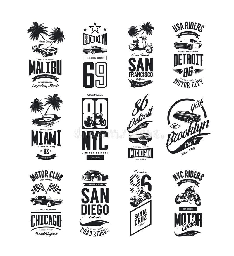 Vintage muscle, roadster and classic car vector t-shirt logo isolated set vector illustration