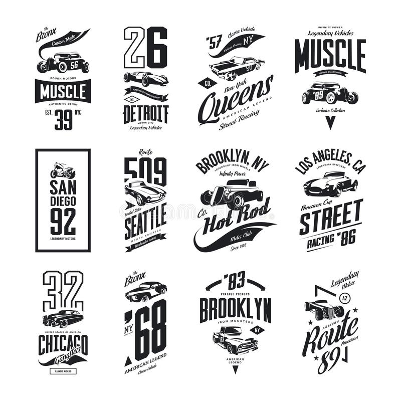 Vintage muscle, roadster, hot rod and classic car vector t-shirt logo isolated set. Premium quality pickup truck tee-shirt emblem illustration. Vehicle street vector illustration