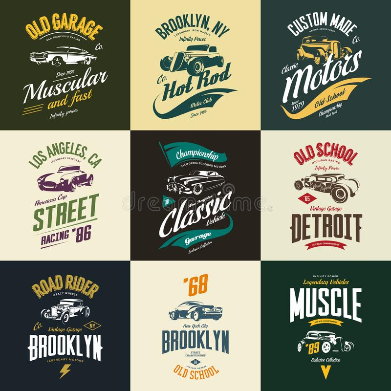 Vintage muscle, roadster, hot rod and classic car vector t-shirt logo isolated set stock illustration