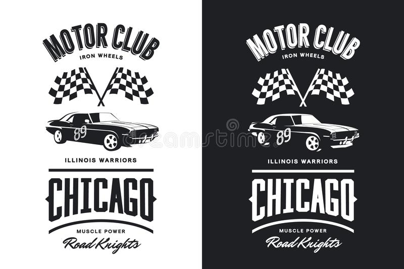 Vintage muscle vehicle black and white isolated vector logo. Premium quality sport car logotype tee-shirt emblem illustration. Chicago, Illinois street wear vector illustration