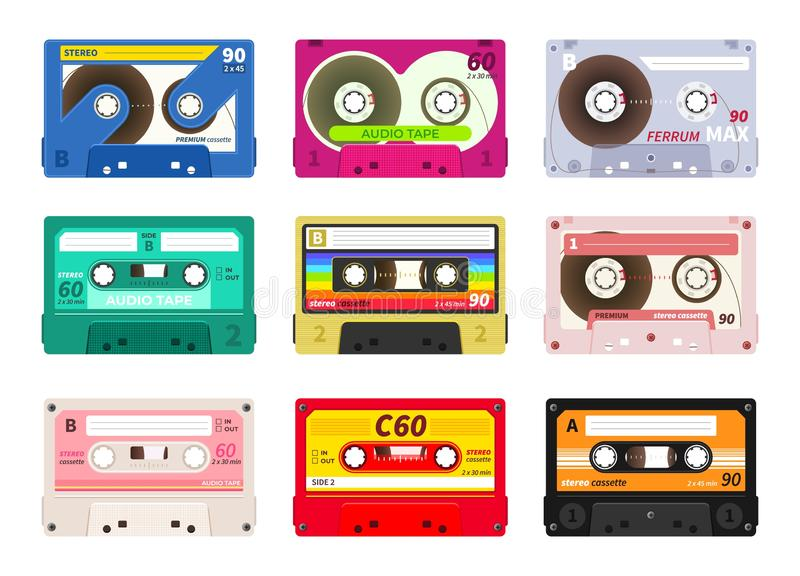 Vintage music cassettes. Retro dj sound tape, 1980s rave party stereo mix, old school record technology. Vector old 90s. Coloured plastic cassettes set stock illustration