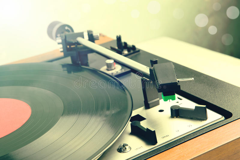 Vintage music player turntable with lp. Record stock photo