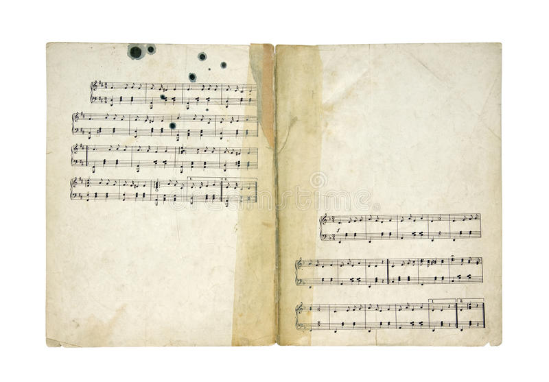 Vintage music sheet. With clipping path royalty free stock photography