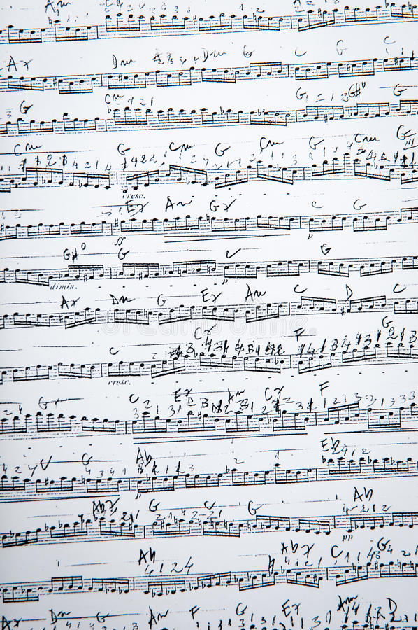 Vintage music sheet. For a background royalty free stock photo
