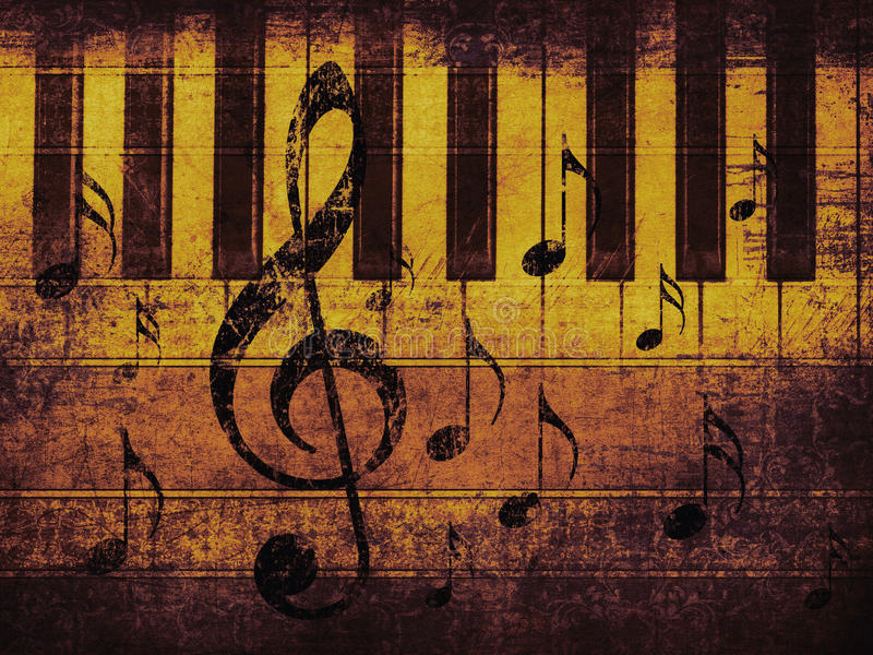 Vintage musical background with piano stock photos