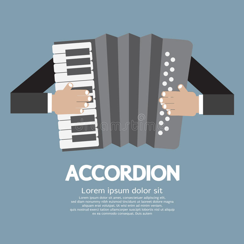 Vintage Musical Instrument Accordion. Vector Illustration stock illustration