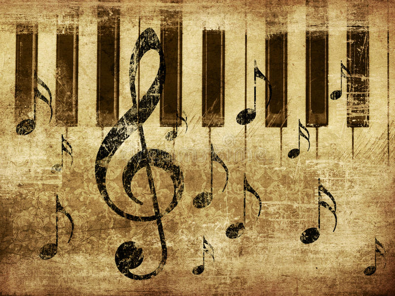 Vintage musical piano background stock photo