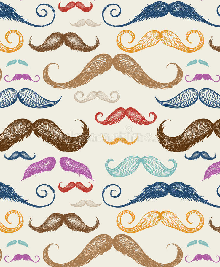 Vintage Mustache Seamless Pattern vector illustration