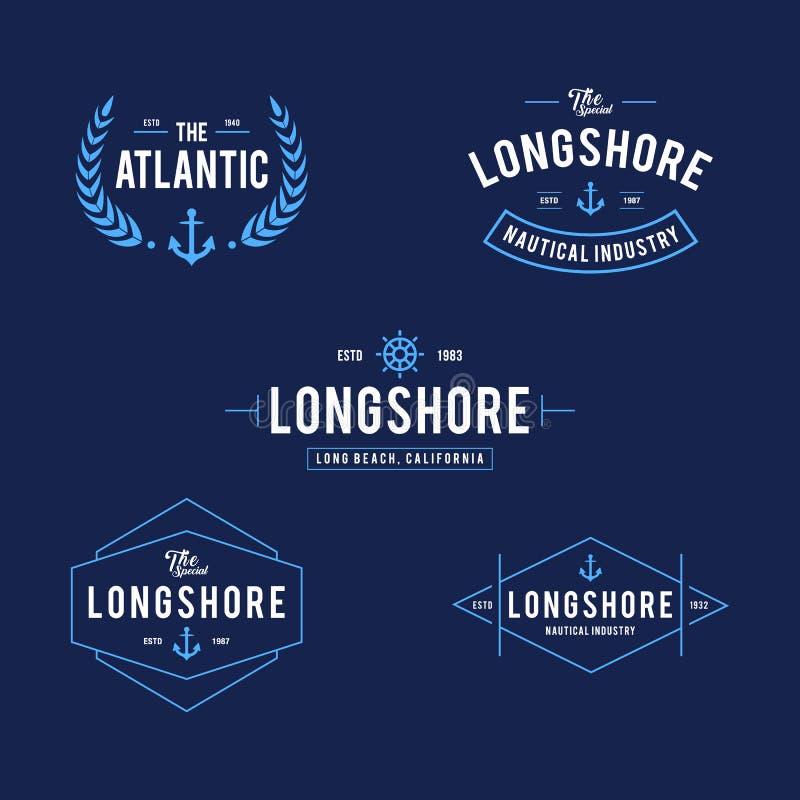 Vintage náutico e insignia de la etiqueta del océano, elemento retro del diseño stock de ilustración