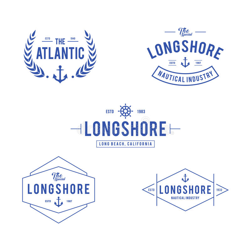 Vintage náutico e insignia de la etiqueta del océano, elemento retro del diseño en el fondo blanco ilustración del vector