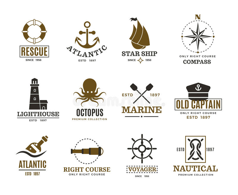 Vintage náutico, navegación marina, etiquetas del vector del buque del mar, insignias, logotipo ilustración del vector