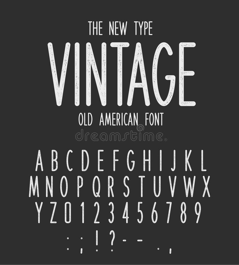 Vintage narrow type, modern letters design, old american font. White retro letters and numbers set on black background stock illustration