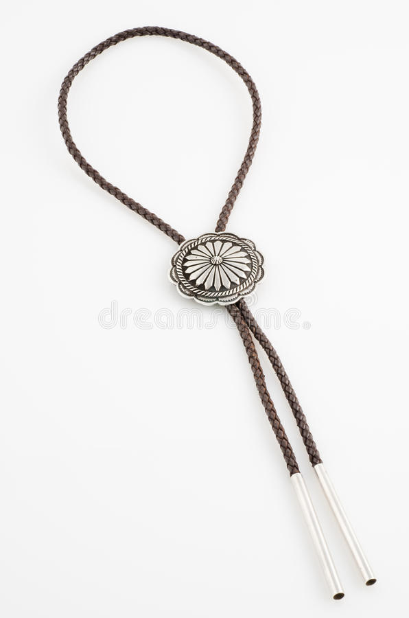 Vintage, Native American Bolo Tie with Concho. royalty free stock photo