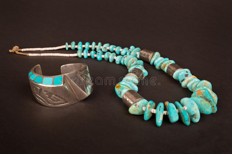 Vintage Native American Silver Cuff Bracelet and Large Turquoise Nugget stock images
