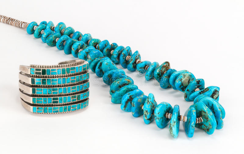 Vintage Native American Turquoise Bead Necklace and Bracelet. Close up of Vintage Native American Turquoise Necklace with Heishe (shell bead), and Turquoise and stock image