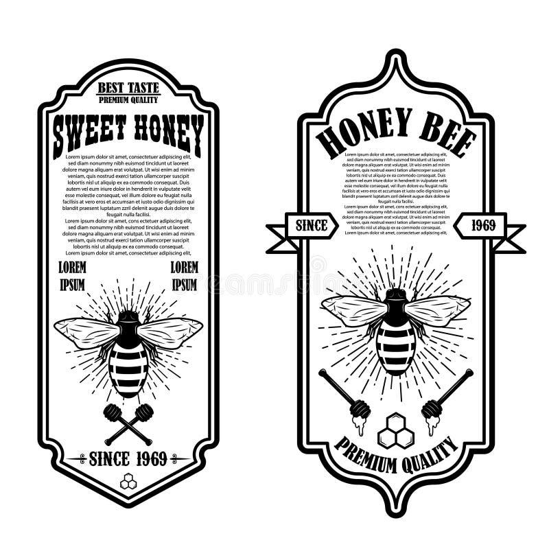 Vintage natural honey flyer templates. Design elements for logo, label, sign, badge stock illustration