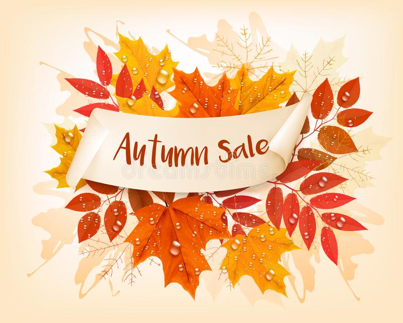 Vintage nature autumn sale background with colorful leaves stock illustration