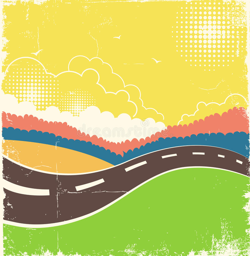 Vintage nature background with road on old paper texture stock illustration