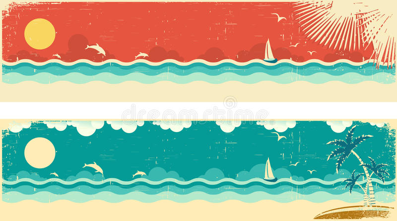 Vintage nature seascape banners with sea and palms vector illustration