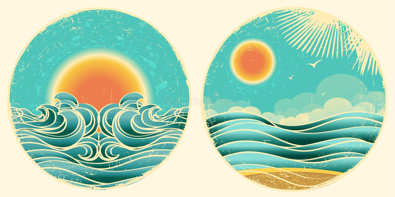 Vintage nature seascape symbol royalty free illustration