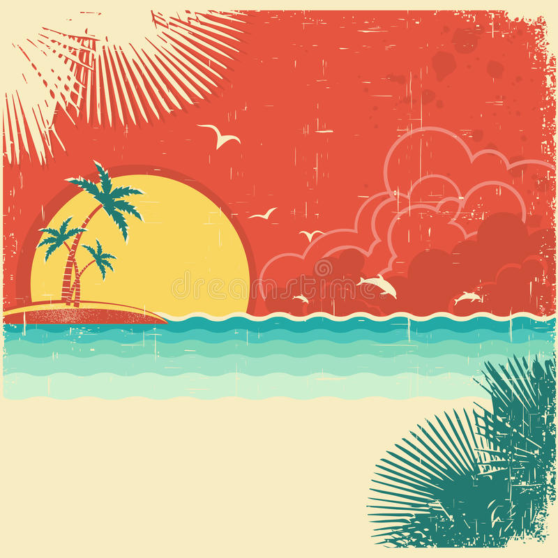 Free Vintage Nature Tropical Seascape Background Royalty Free Stock Photo - 32806985