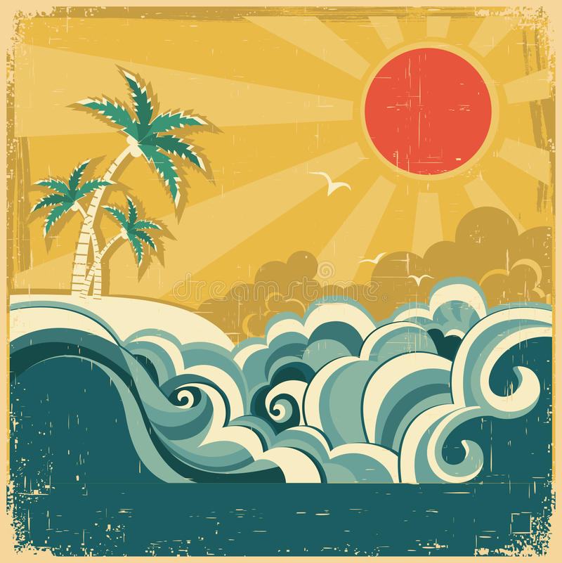 Free Vintage Nature Tropical Seascape Background With P Royalty Free Stock Photography - 32857957