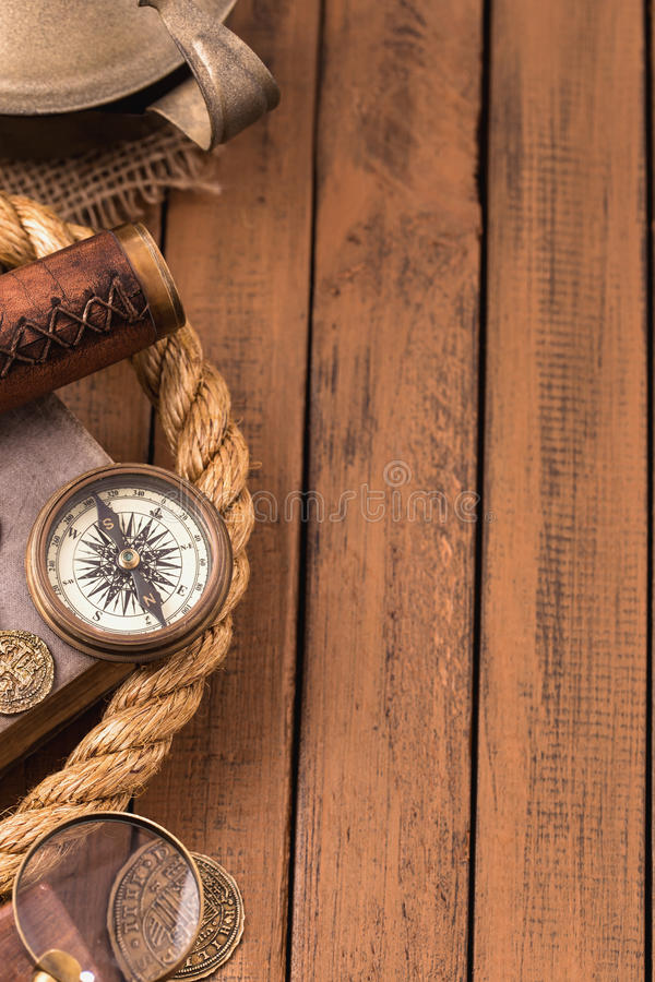 Vintage nautical accessories left royalty free stock image
