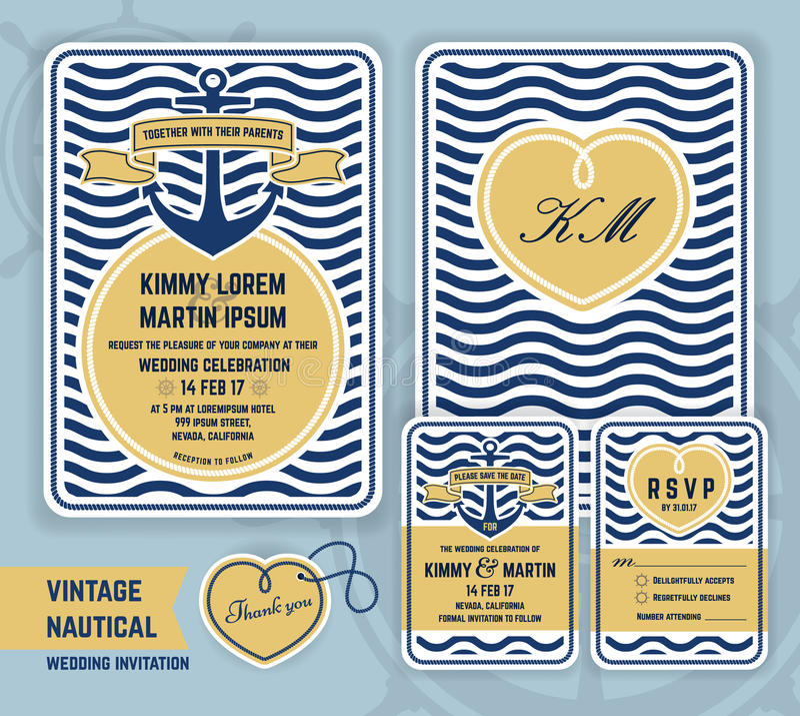 Vintage nautical anchor wedding invitation royalty free illustration