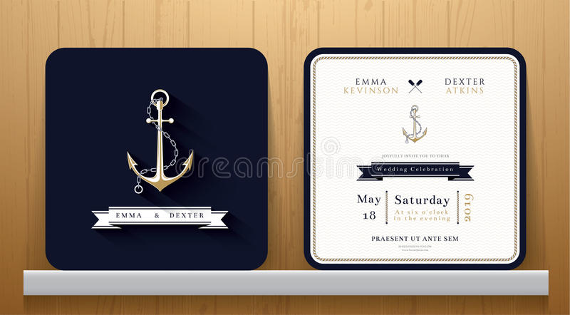 Vintage Nautical Anchors Wedding Invitation Card in Navy Blue Theme. On Wood Background royalty free illustration