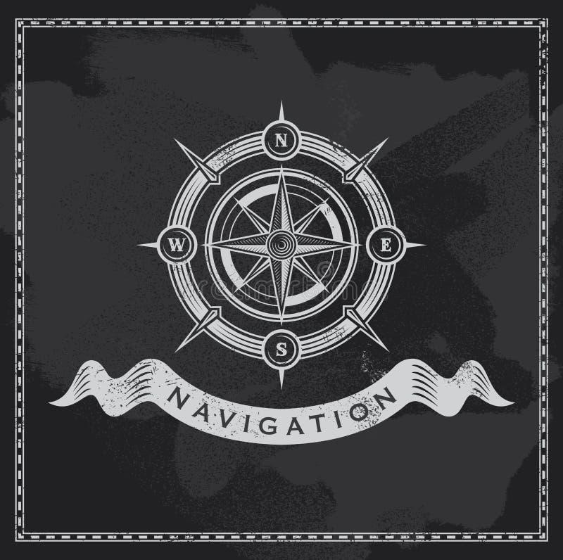 Vintage nautical compass. Chalkboard wind rose vector design vector illustration