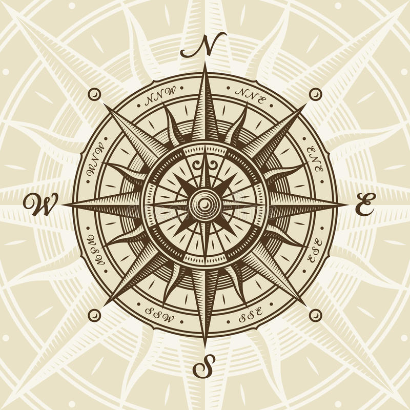 Vintage nautical compass rose. In woodcut style. Vector illustration with clipping mask vector illustration