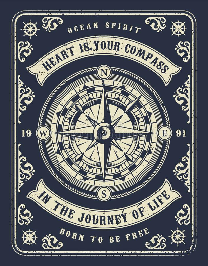 Vintage nautical concept. With navigational compass wind rose and inscriptions in monochrome style vector illustration royalty free illustration