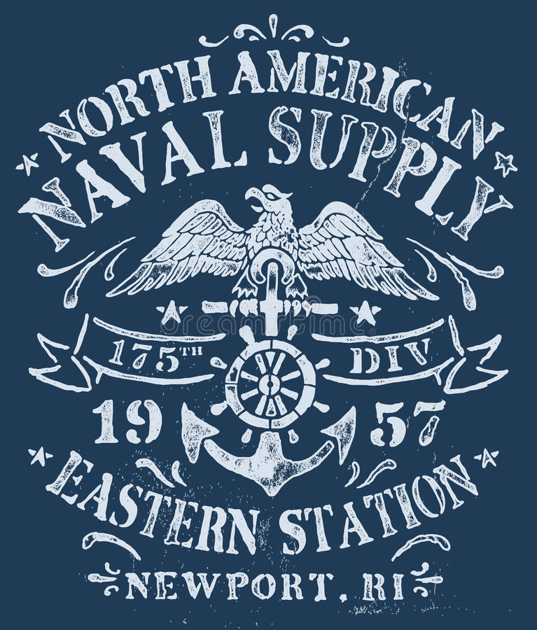 Vintage Nautical Design for Apparel stock illustration