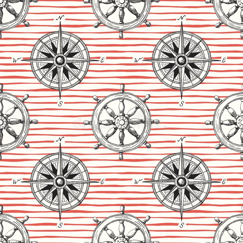 Vintage Nautical Hand-Drawn Ship Steering Wheel and Sea Compass Irregular Horizontal Stripes Vector Seamless Pattern royalty free illustration